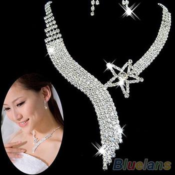 Женская кристалл свадьба ну вечеринку ювелирные изделия комплект кисточкой ожерелье ...
