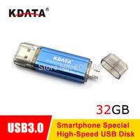 KDATA 32GB USB3.0 OTG Smart Phone USB Flash Drive Pen Drive Memory Stick Double Interface Free Ship
