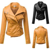 New Fashion Women Motorcycle PU Leather Jackets Female Winter Autumn Short Epaulet Zippers Coat Hot Yellow Outwear Free Shipping