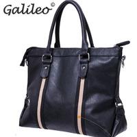 2014 fashion Black casual men PU leather handbag High quality shoulder bag Messenger bag men's travelling handbags Laptop Bag