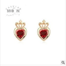 18K gold plated AAA zircon earrings, love crown earrings for women 2014.(China (Mainland))