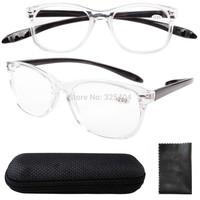 FR007 Free Shipping Quality Long Arms Around the Neck Retro Reading Glasses Transparent Frame +1.0--+4.0