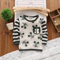 2014 autumn Free Shipping Cotton cute minkey print Children T Shirts,Kids Boys girls striped Tops,Child Tees Clothing 4pcs/lot