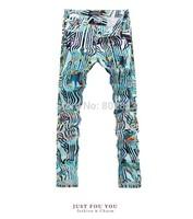 2014 New Arrival Men Style Colorful Stripe Print Slim Jeans Drawing Man Jean Amazing Male Skinny Elastic Pants