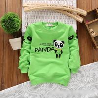 2014 autumn Free Shipping Cotton cute panda print Children T Shirts,Kids Boys girls long sleeveTops,Child Tees Clothing 4pcs/lot