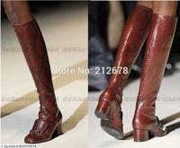 2014 Fashion T- show Brand knee boots Sexy python line square  heel lady botas