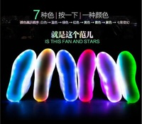 Luminous LED fluorescent lamp LED Rainbow couple of men and women casual shoes to help low-lacing shoes USB charging lights