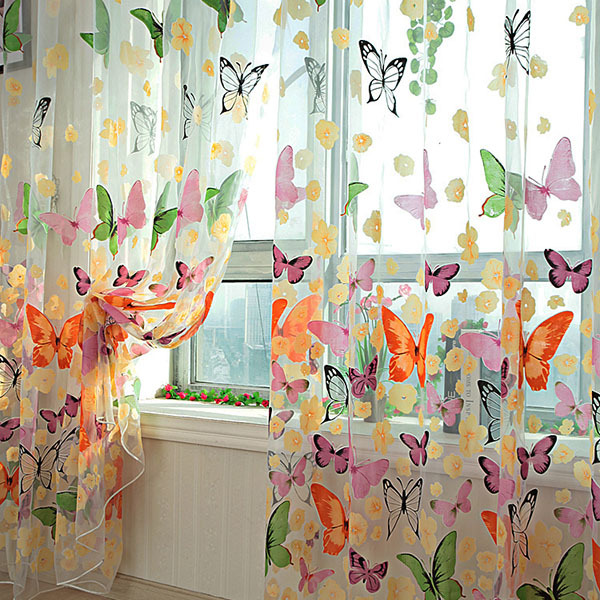 Pretty Butterfly Print Sheer Window Door Panel Curtains Room Divider ...