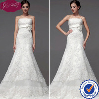 Goingwedding Real Sample  Hot Sale Tulle Lace A-Line Ivory Strapless High End Free Shipping Wedding Dress With Bow NW0703