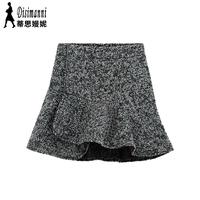 new  spring 2014 women's European and American Style fashion irregular slim woolen bust skirt free shipping