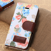Fashion Flower Canvas Leather Stand Cover Case for Apple iPhone 5 5s, Wholesale Card Holders Stand Wallet Case for iPhone 5s 5