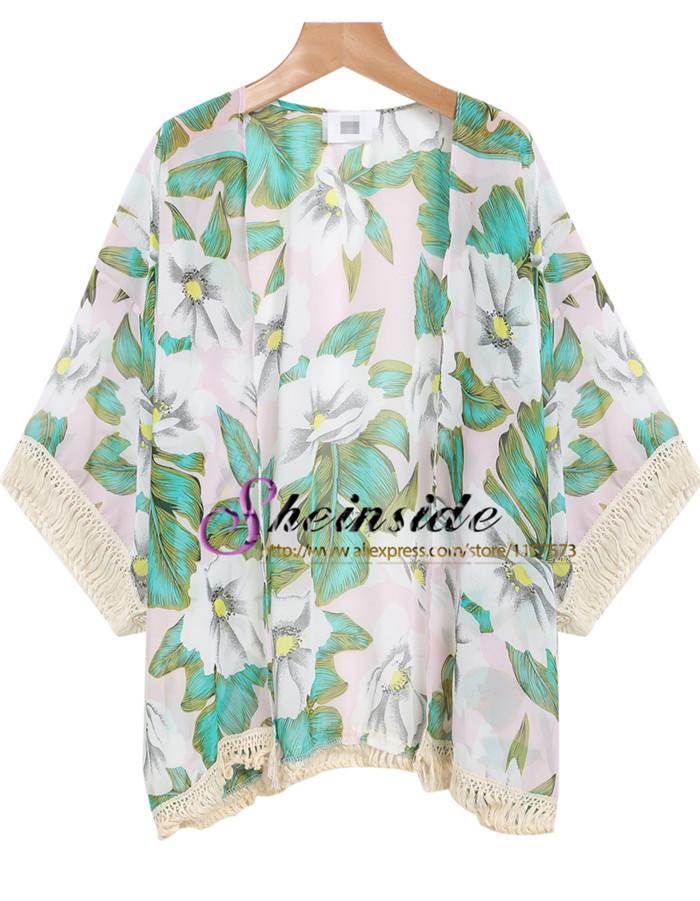 Harajuku stil 2014 marke sommer/Herbst frauen kleidung grün casual blumendruck quaste lange plus size kimono strickjacke