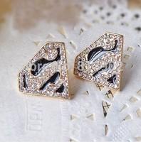 Fashion Hot Selling Superman logo triangle geometry to S stud earrings 5pcs/lot