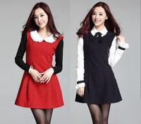 Women Autumn and Winter Cute Dress New 2014 Fashion Sleeveless Polka dot Print Vintage Dresses Vestidos Casual  Red Dark Blue