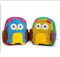 2014 autumn new  Owl style school bag children school  backpack  girls cotton bag 1pcs  size 25*21*8cm