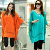 2014 Limited Cotton O-neck Summer New Loose Big Yards Sleeve T-shirt Shirt Bat Fat Mm Size Women Blouse Wholesale Super Mast
