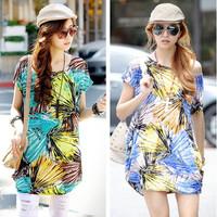 2014 Direct Wholesale Cotton O-neck Summer New Korean Large Size Women Bat Shirt Printing Round Neck Sleeve T-shirt