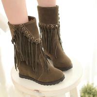 9cm heels woman round toe tassel high heels wedges boots 2014 ladies autumn winter short ankle martin boots black brown red 178