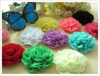 30pcs 10 color chiffon lace ruffles flower for newborn baby hair accessories wave hair flower for headband