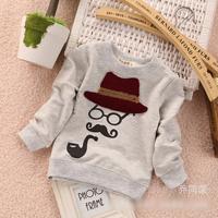 2014 autumn Free Shipping Cotton Holmes print Children T Shirts,Kids Boys girls long sleeveTops,Child Tees Clothing 4pcs/lot