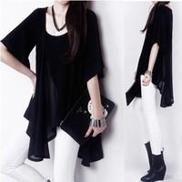 2014 new summer Korean fashion irregular stitching chiffon blouses modal cotton t-shirt big yards female