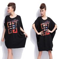 Fat Sale Cotton Mm Short-sleeved T-shirt 2014 Summer New Korean Color Printing Loose Big Yards Notre Dame Women's Wholesale