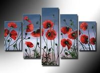 100% Hand painted Blue flowerHigh Q. Abstract Wall Decor Landscape Oil Painting on canvas 5pcs/set mixorde Framed