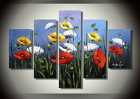 100% Hand painted Yellow and red flowers High Q. Abstract Wall Decor Landscape Oil Painting on canvas 5pcs/set mixorde Framed