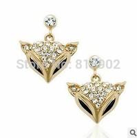 Aureate adorn article Set auger Austrian crystals The charm The fox head Earrings wholesale 3pcs/lot