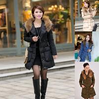 Women 2014 New Brand Winter Jacket Wholesale Woman Wool Collar Long Down Parkas Women's Big Pockets Jackets Free Shipping E1503