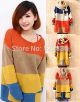 loose stripe batwing sleeve sweaters 2014 women fashion crochet knitted sweater women sweater women pullover women tricotado