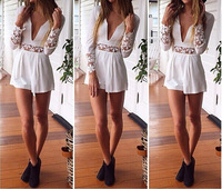 2014 New Style Cut Out Lace Playsuit Deep V neck Long Sleeves Lace Short Jumpsuits White Chiffon Patchwork Bodysuits