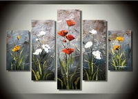 100% Hand painted Knife scratched High Q. Abstract Wall Decor Landscape Oil Painting on canvas 5pcs/set mixorde Framed