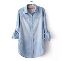 Women New 2014 Long-Sleeved Denim Shirt Pearl Snap Shirt Plus Size Casual Blouse DJ-9