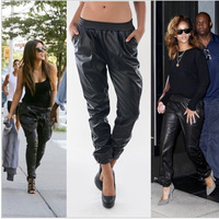 2014 new harem women pants women in Europe and America female sports pants casual fashion leather pants plus size XS-XXXL