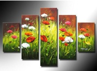 100% Hand painted Flowers and green grass High Q. Abstract Wall Decor Landscape Oil Painting on canvas 5pcs/set mixorde Framed