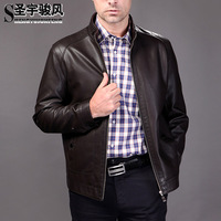 The sheep leather collar men Real leather jacket
