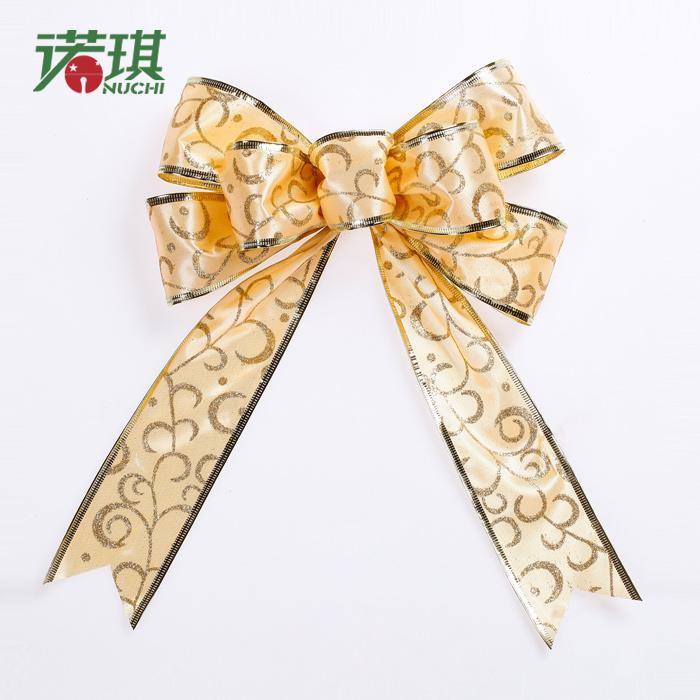 25cm gold print christmas bow christmas tree decoration Christmas 30g(China (Mainland))