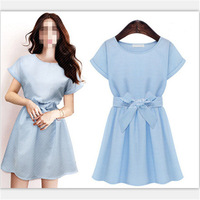 New Summer 2014 Oversize Plus Size Women Ladies Stripe Casual Short Sleeve Top Quality Mini Dress Bow Decal Sundress