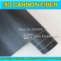 3D Big Grid Carbon Fiber Textured Vinyl Wrap Car Body Sticker With Air Drain Light Black 0.18mm  1.52x30m