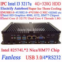 Industrial fanless intel core i3 3217u mini computers with Intel dual Lan ports 4 COM 4G RAM 320G HDD