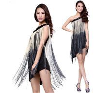 Women's One Shoulder Shining Tassel Latin Dance  Dress  Latin dancing performance apparel clothing