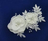 5PX Free shipping White silky Hair Clip flower pearls crystals Bridal Wedding Tiara Bridesmaids