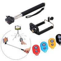 Hot Selfie Kit Extendable Adjustable Mini Tripod + Handheld Selfie Monopod Mount Holder + Bluetooth Shutter For iOS Android