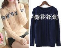 New Winter/Autumn Lace Collar Snowflake Pattern Knit Pullover Women/Feminina Sweater Beige/Blue Fashion 2014 Women Clothing