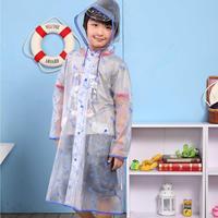Male girls clothing child cartoon transparent raincoat school bag belt