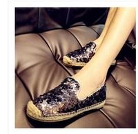2014 new arrive Single shoes fisherman's shoes casual shoes paillette women's flat-bottomed single shoes