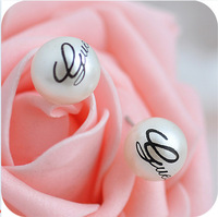 Fashion Brand Sweet 10mm White Pearl Letter Stud Earrings Designer Pearl Candy Ball Earring Jewelry Hot Sales For Women