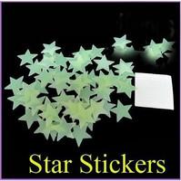 100pcs/pack Luminous PVC Luminous Patch Neon Fluorescent Star Stickers Three-dimensional Wall Stickers Creative Cartoon Children