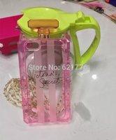 2014 Lastest Fashion Brand Victoria/'s Secret PINK Perfume Bottle Metal Chain Handbag Case For Iphone5 5S Transparent TPU Covers